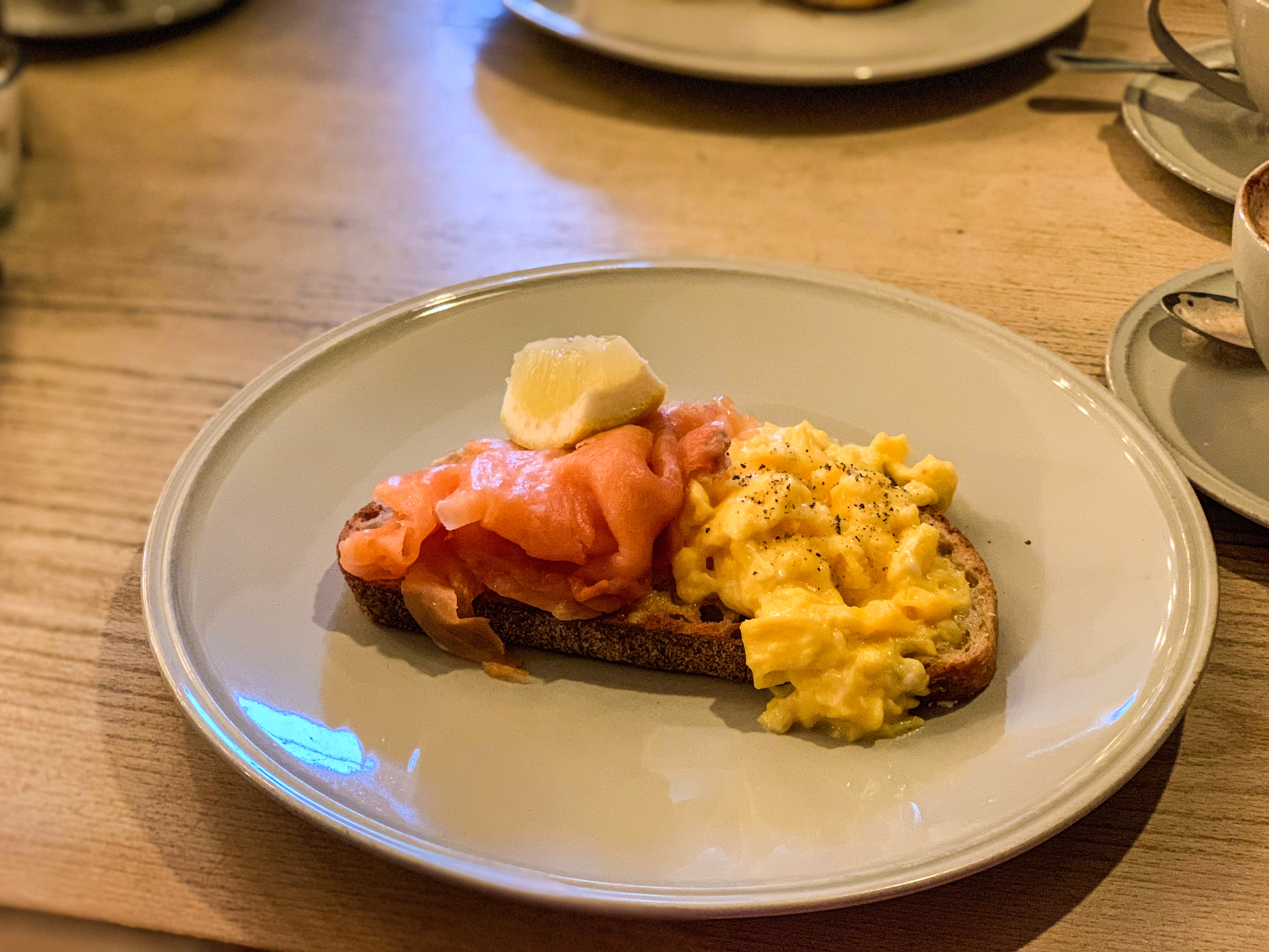 Smoked Salmon & eggs at Forte Kitchen, Winchester