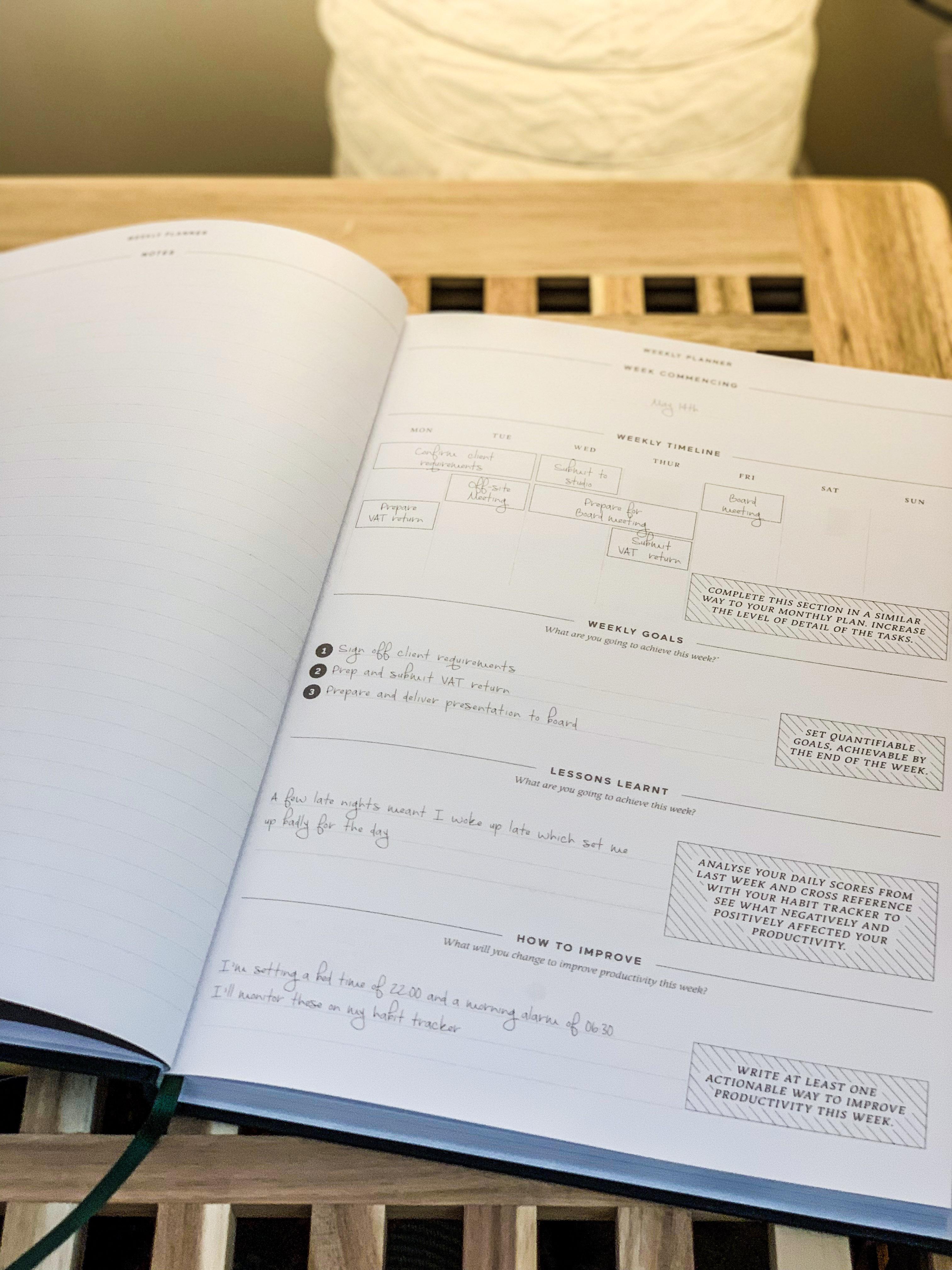 weekly goals planner