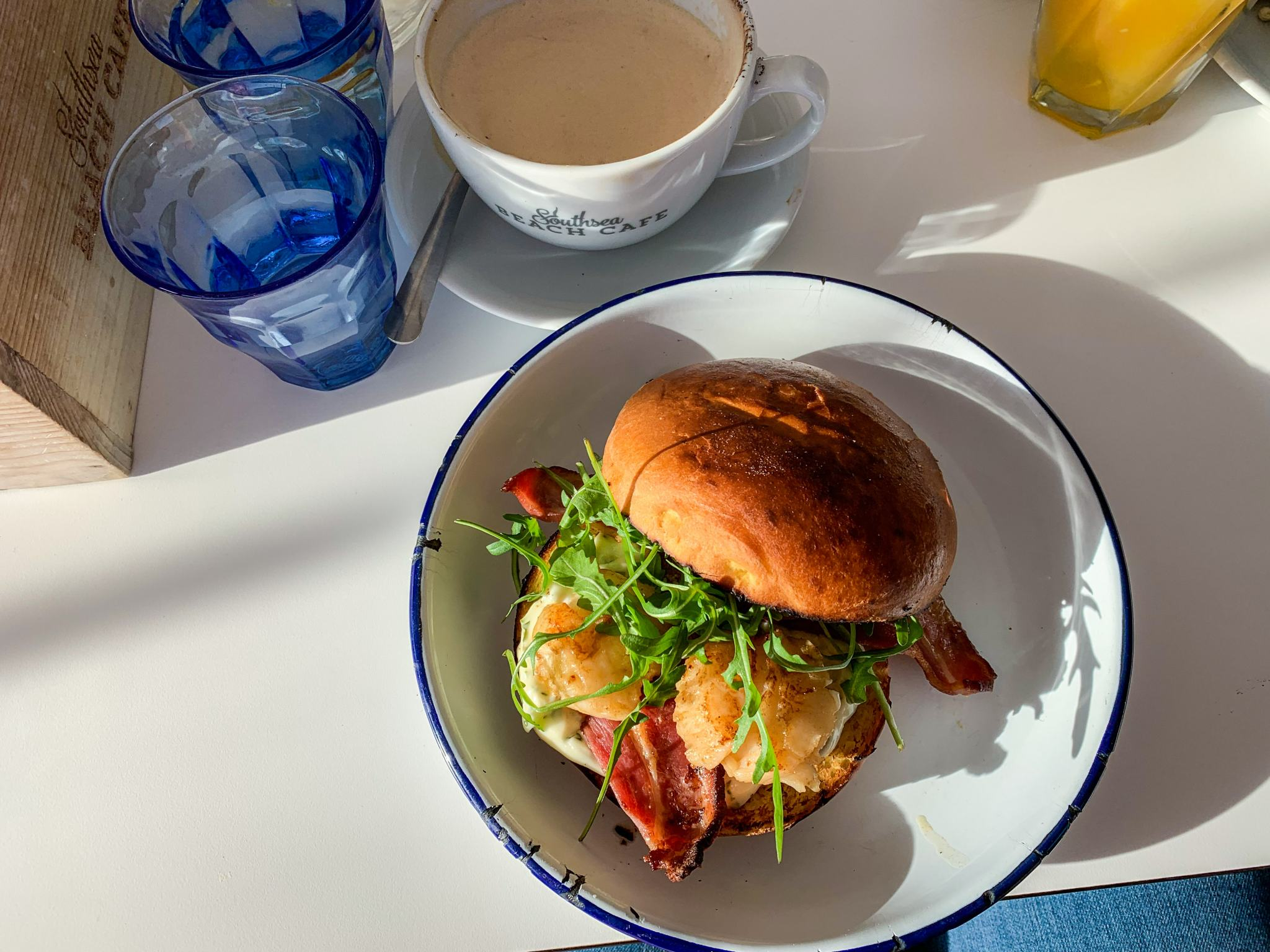 scallop and bacon bap - breakfasts in hampshire
