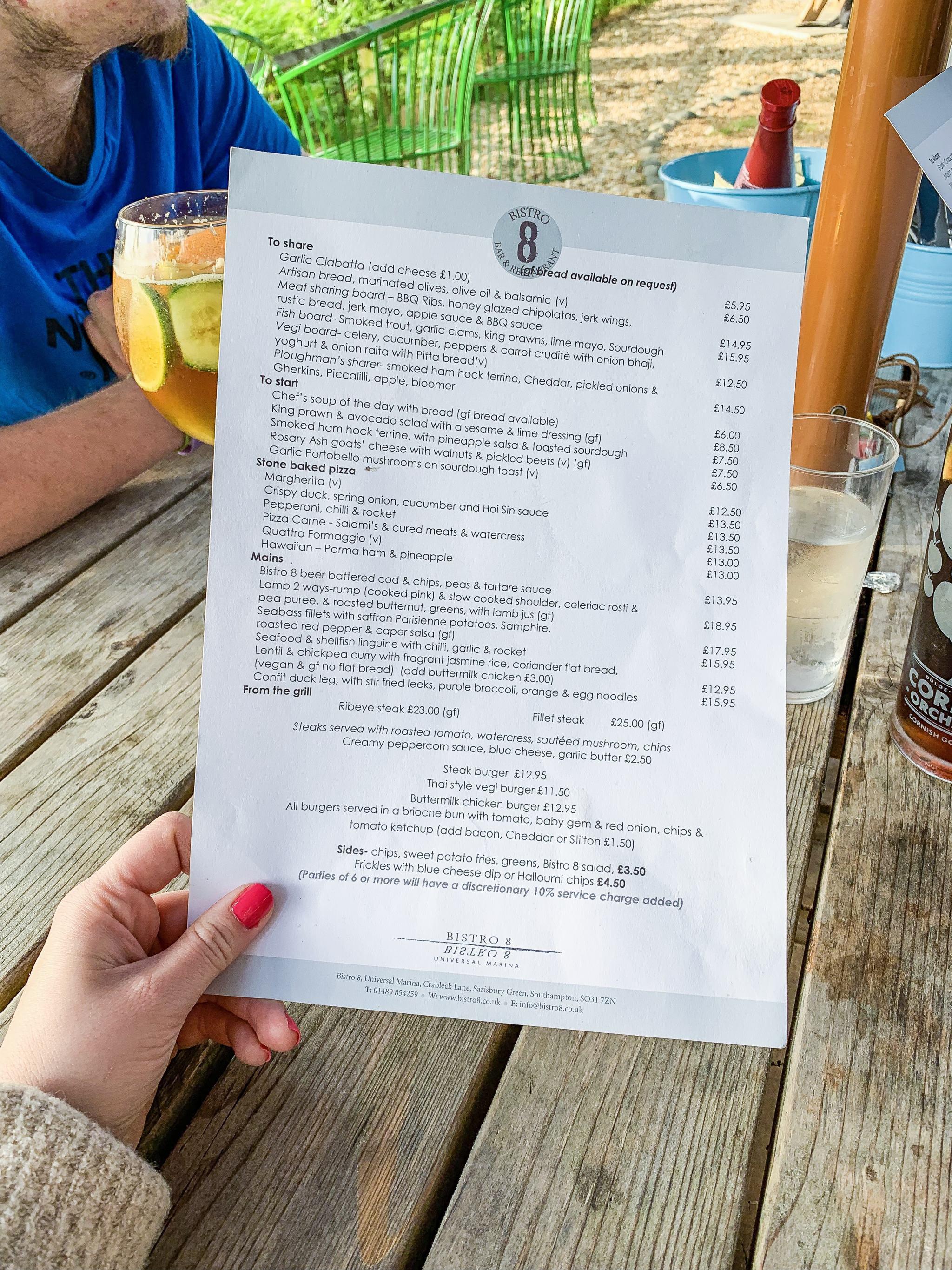 bistro 8 universal marina southampton menu