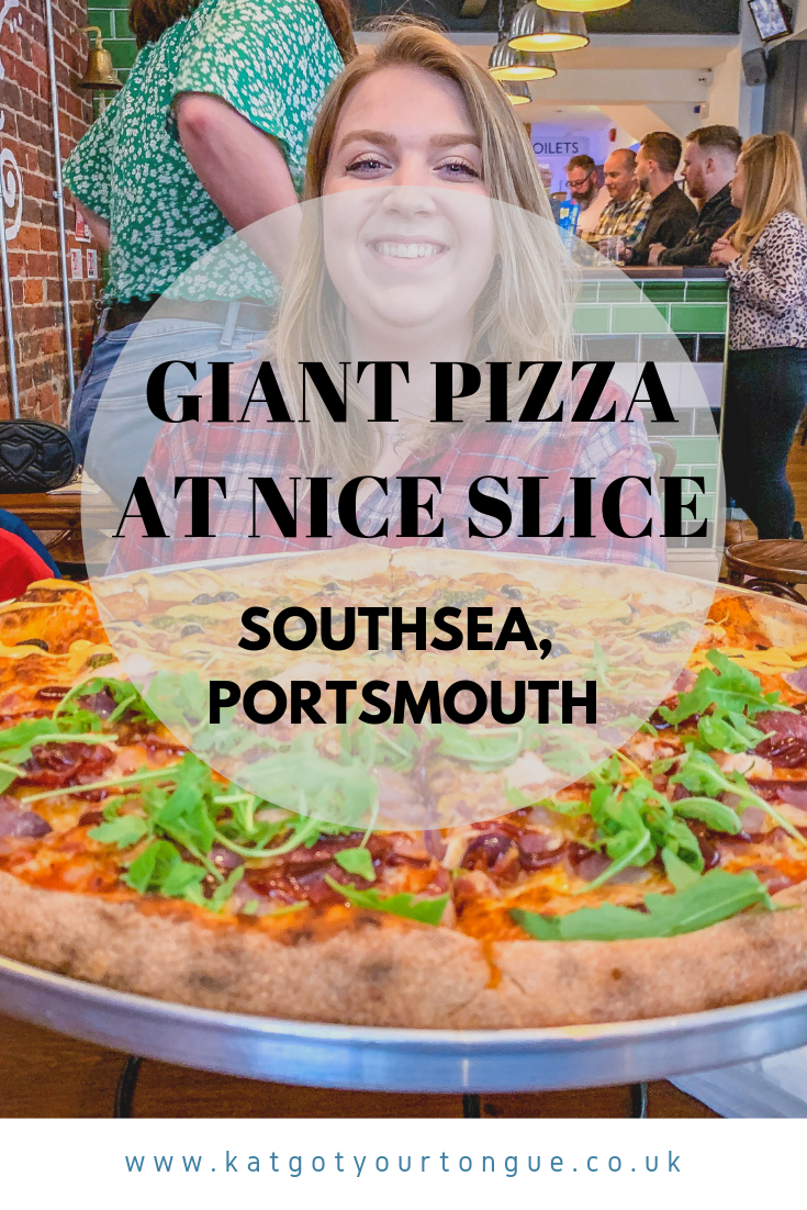 giant pizza at nice slice in southsea, portsmouth - kat got your tongue