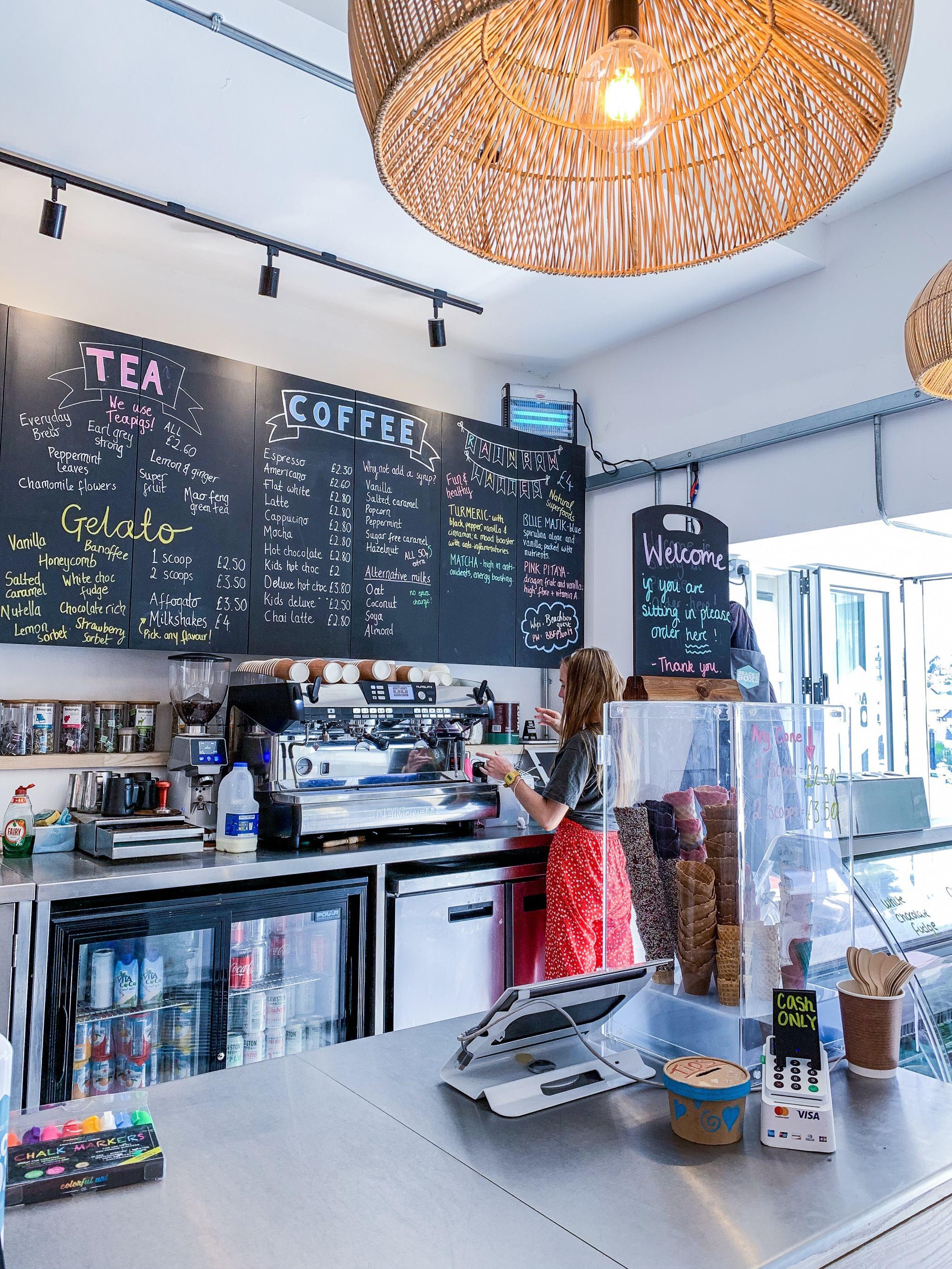 menu at beach box cafe