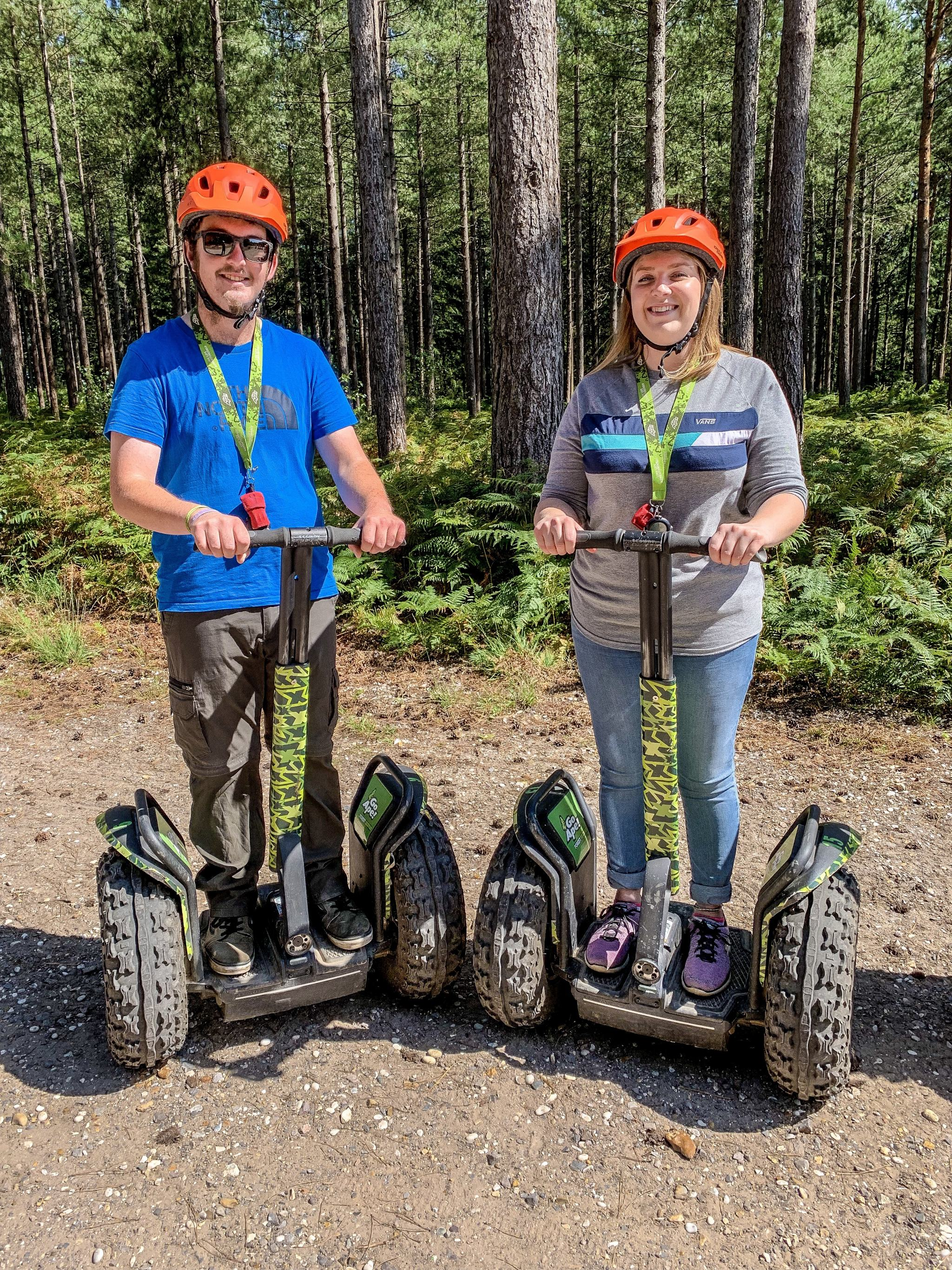 riding segways in the forest at Go Ape Moors Valley