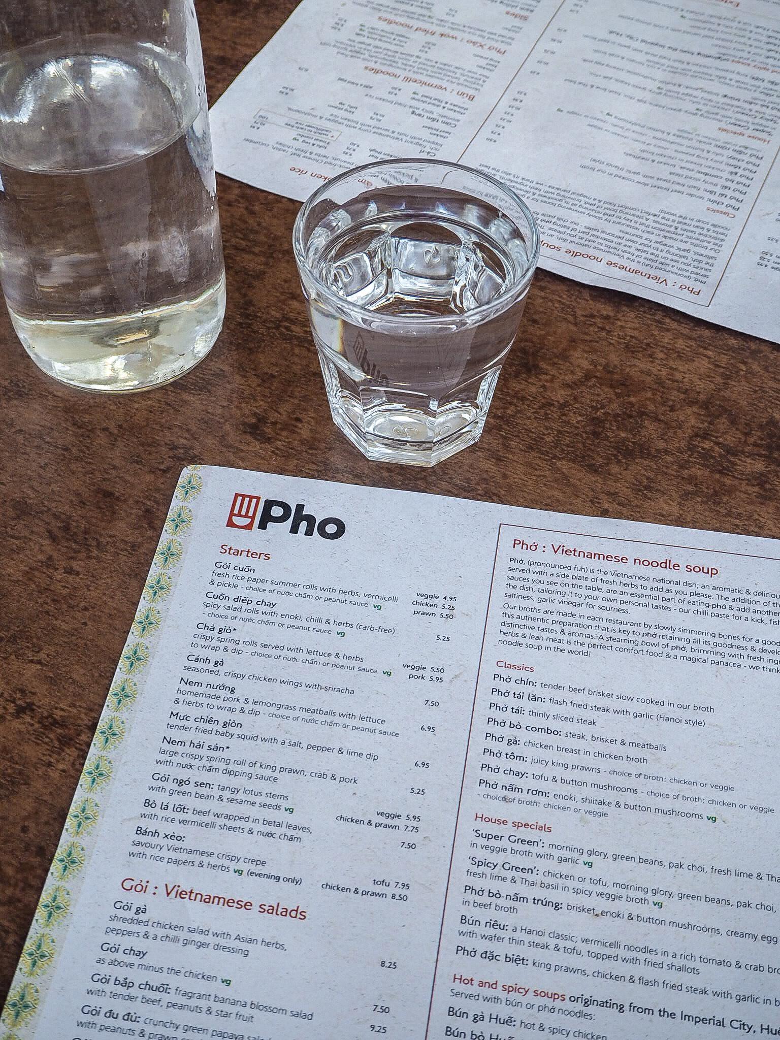 menu at pho portsmouth