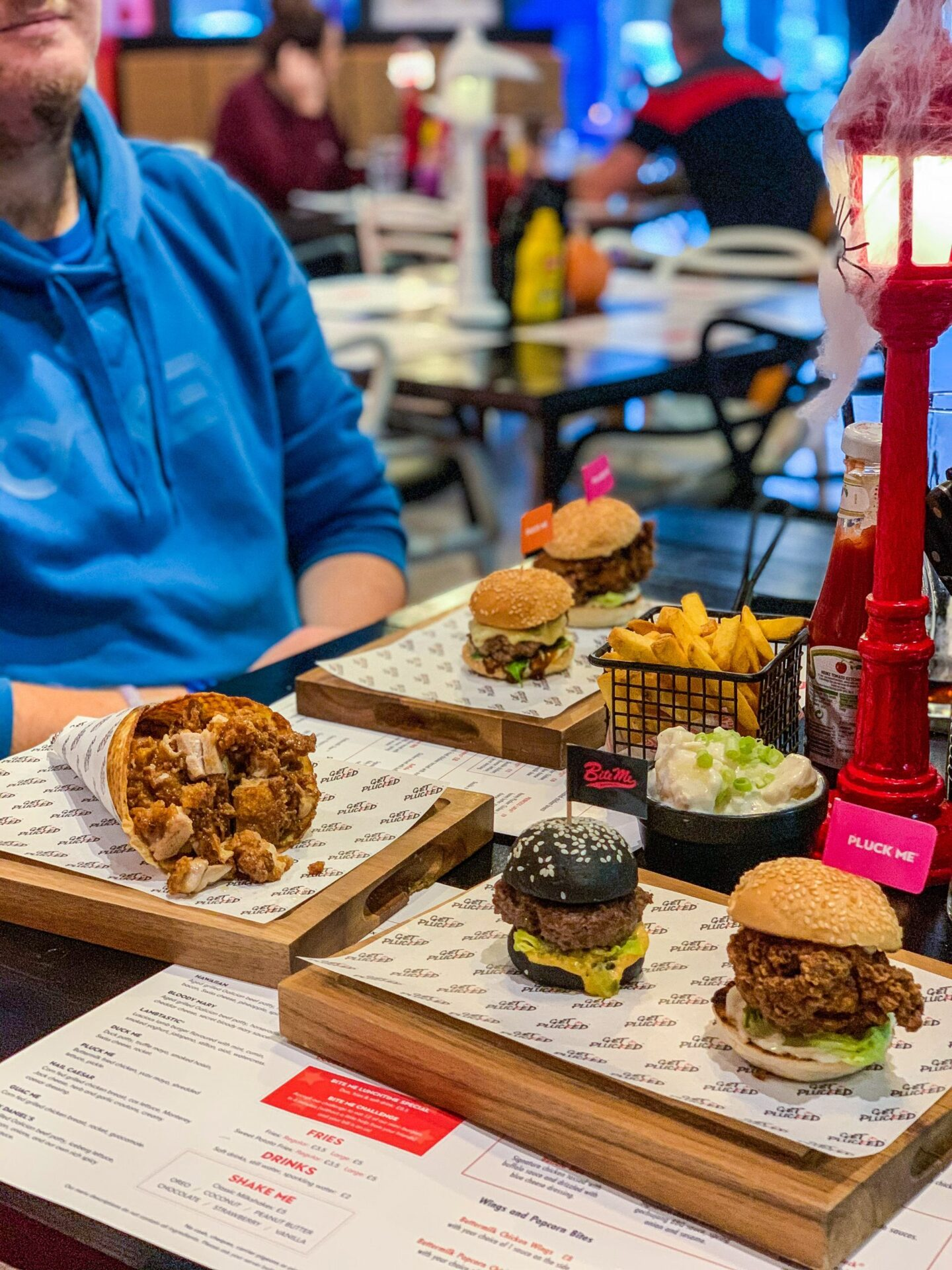 burgers and fried chicken at bite me burger and get plucked