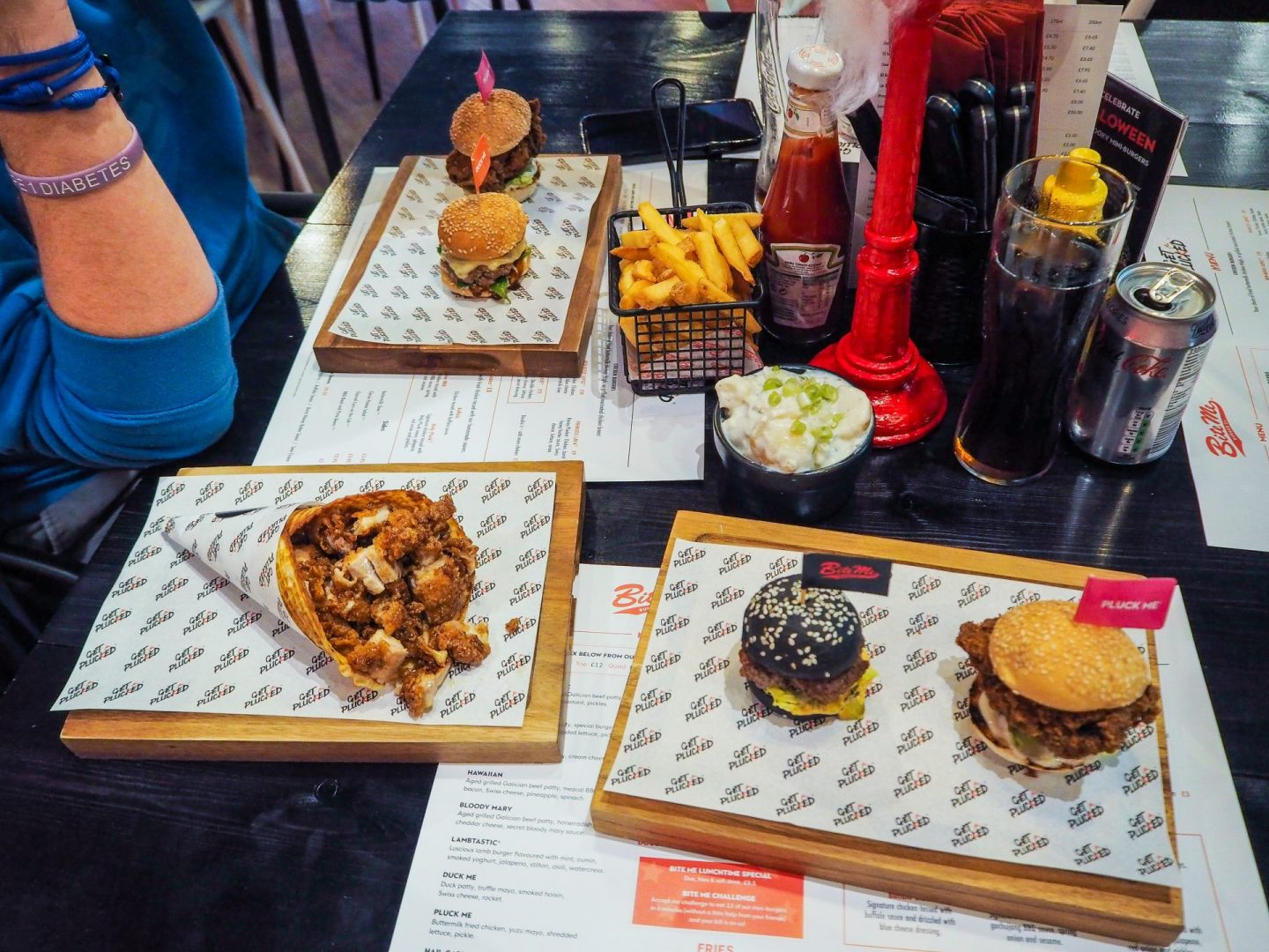 food at bite me burger & get plucked